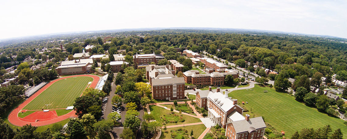Aerial view of F&M campus facing southwest