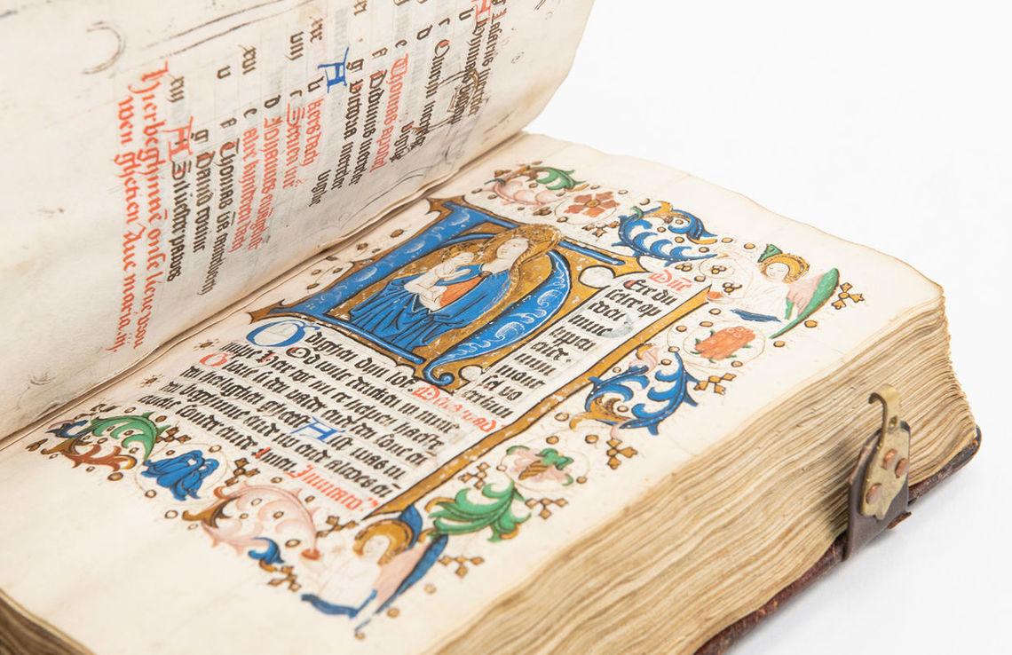 """South Netherlands Book of Hours,"" published in 1450, is an illuminated manuscript. It is the oldest book owned by the F&M library."