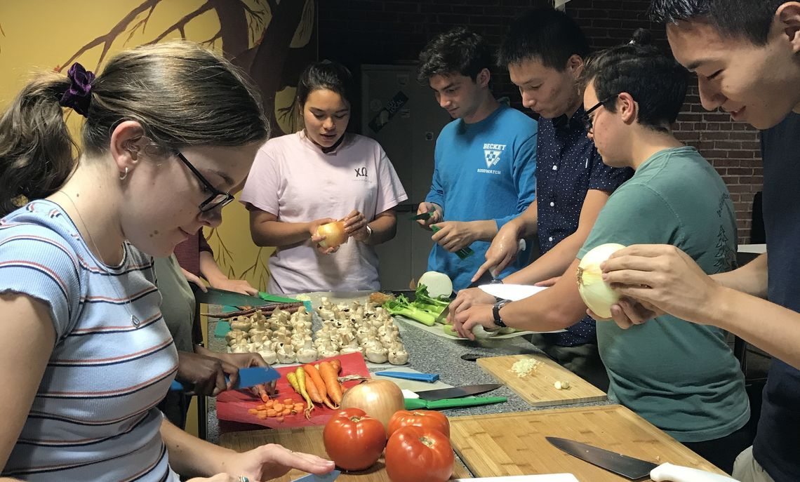 Chopping veggies for Fair Trade Cafe Soup