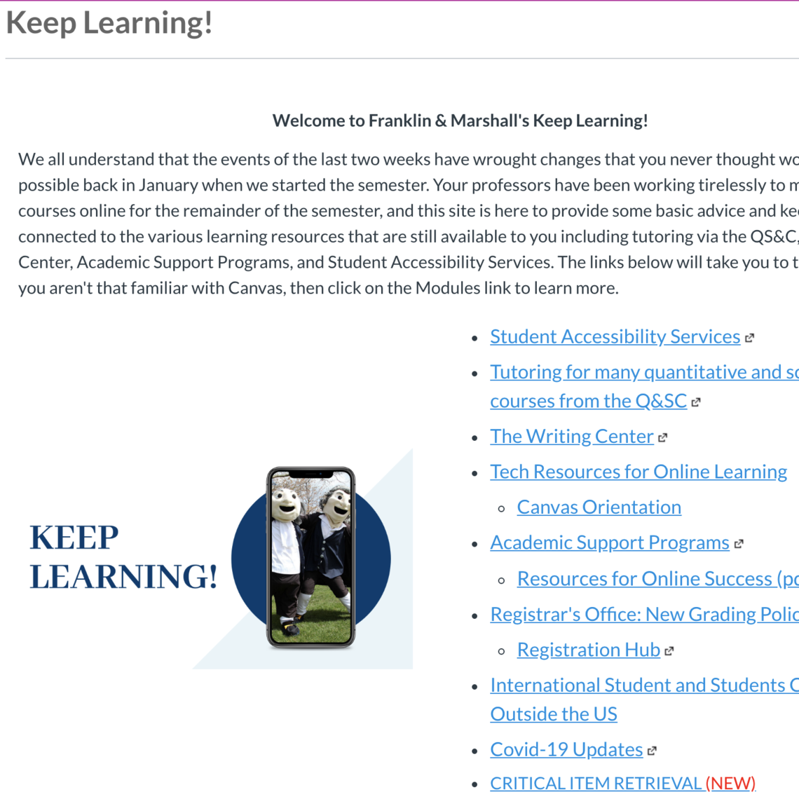 Keep Learning Canvas Home Page and Menu