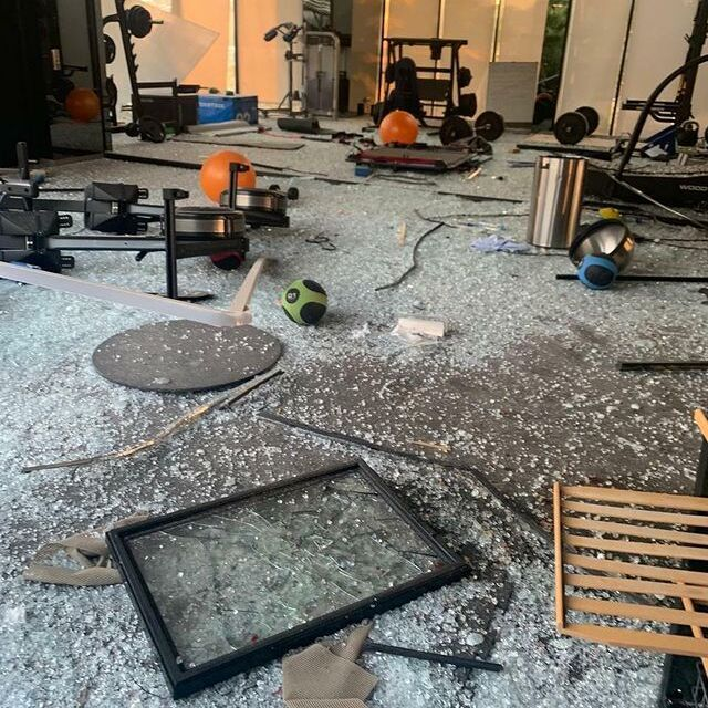 A gym in Beirut, Lebanon shows the aftermath of the capital city's Aug. 4 explosion.