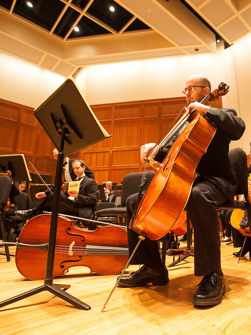 Musicians of F&M Philharmonia prepare for a concert in Barshinger Center for Musical Arts