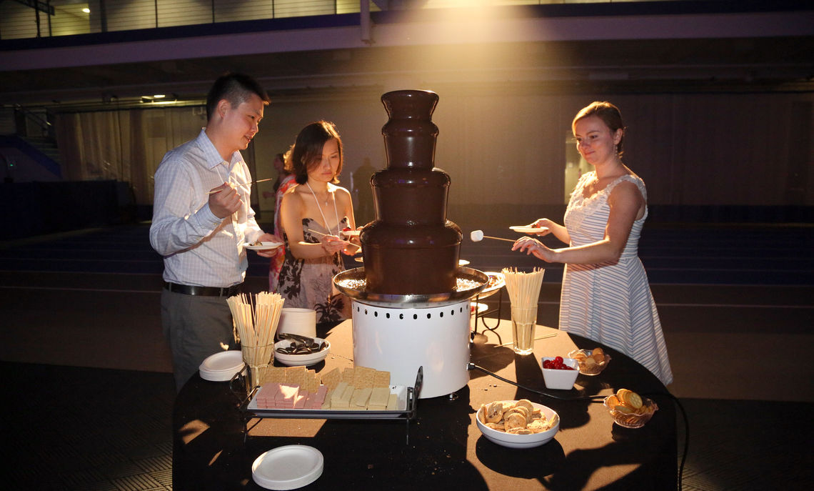 The ever delightful chocolate fountain for those fondue aficionados at the Blue & White Bash.
