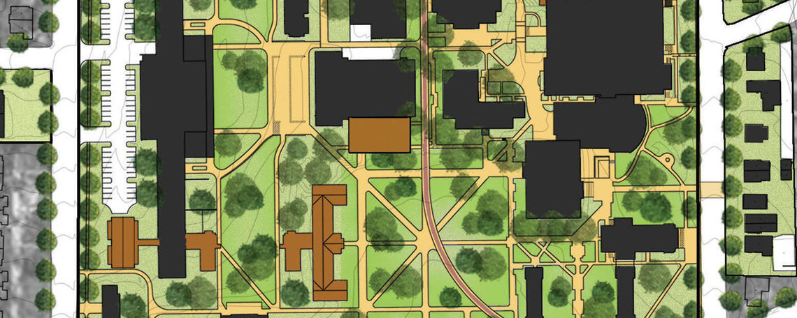 detail plan of central campus
