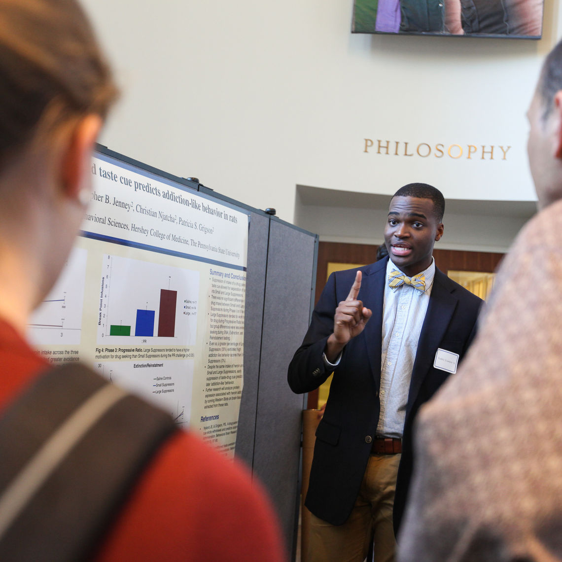 """The Autumn Research Fair displays a broad array of faculty-supervised student projects at the College. """"This is part of our identity as an institution,"""" F&M President Daniel R. Porterfield said at the event."""