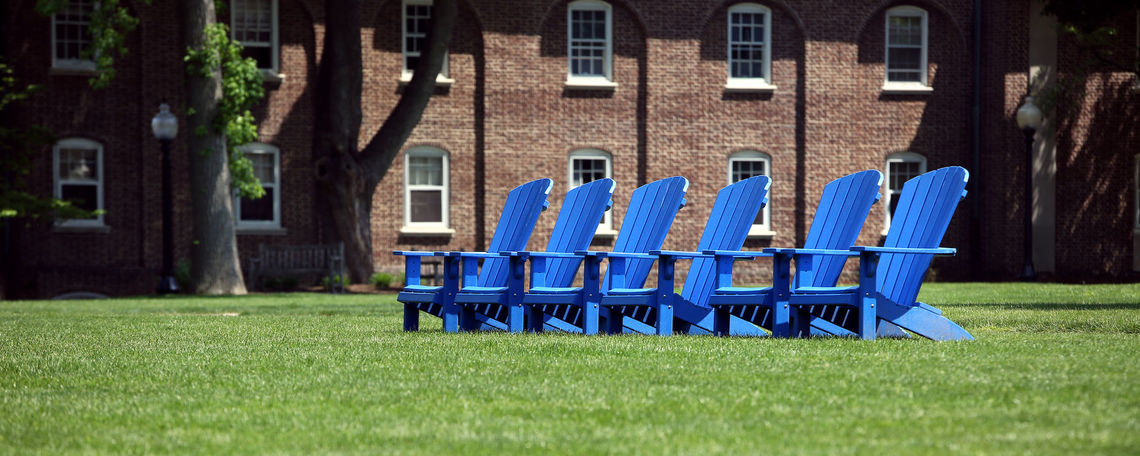 Blue Chairs on Hartman Green