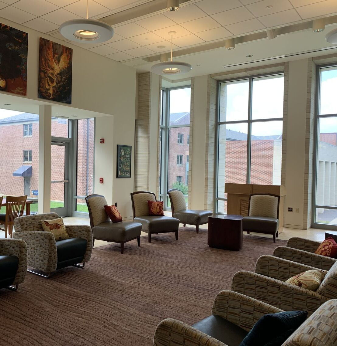The Great Room, where students gather for Brooks Breakfasts and other events, or just to hang out with friends.
