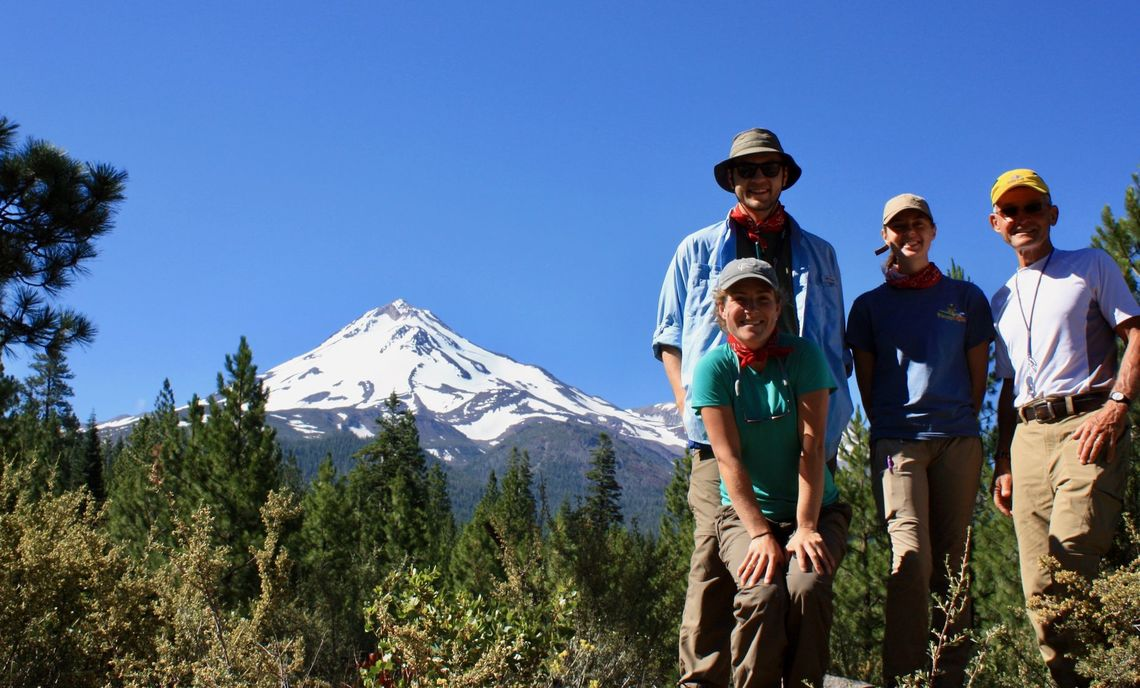 In back, from left to right, are Mount Shasta, F&M seniors Sam Patzkowsky and Halle Putera, and Geoscience Professor Stanley Mertzman. They were joined by Emily Wilson, F&M geoscience lab technician.