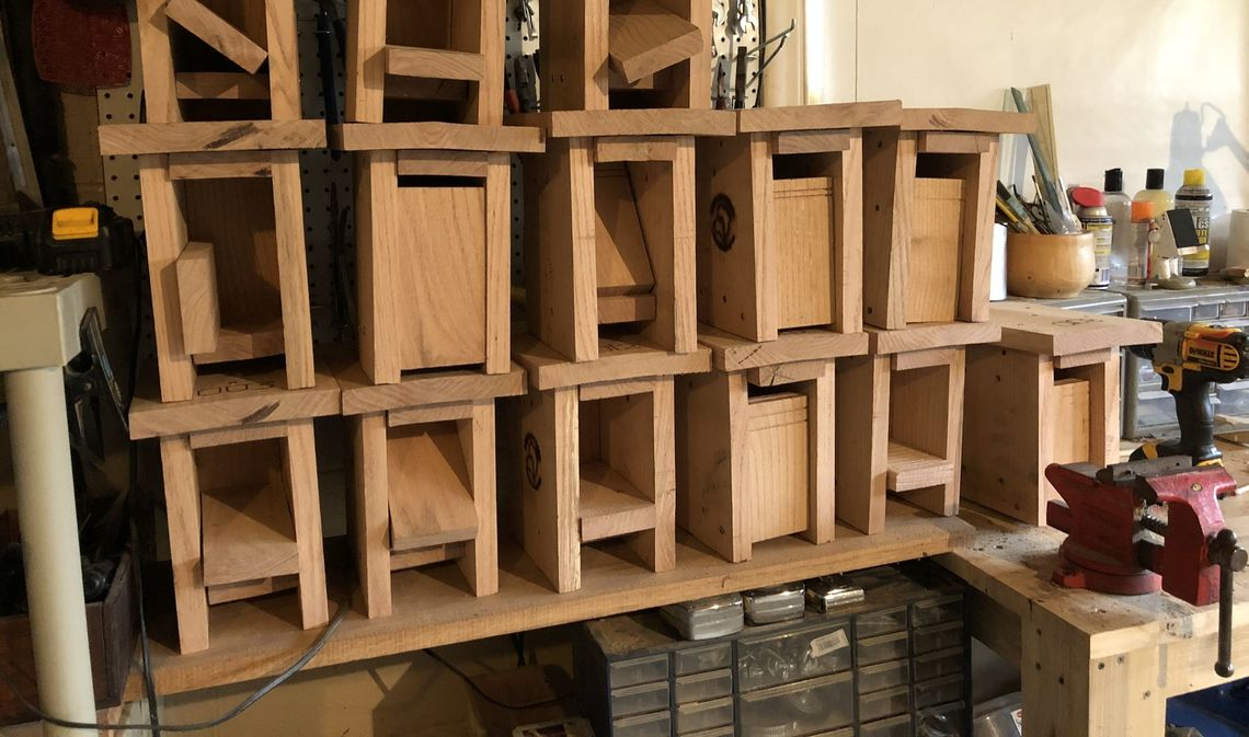 Professor de Wet's hand-made bird boxes, stocked and ready to go.
