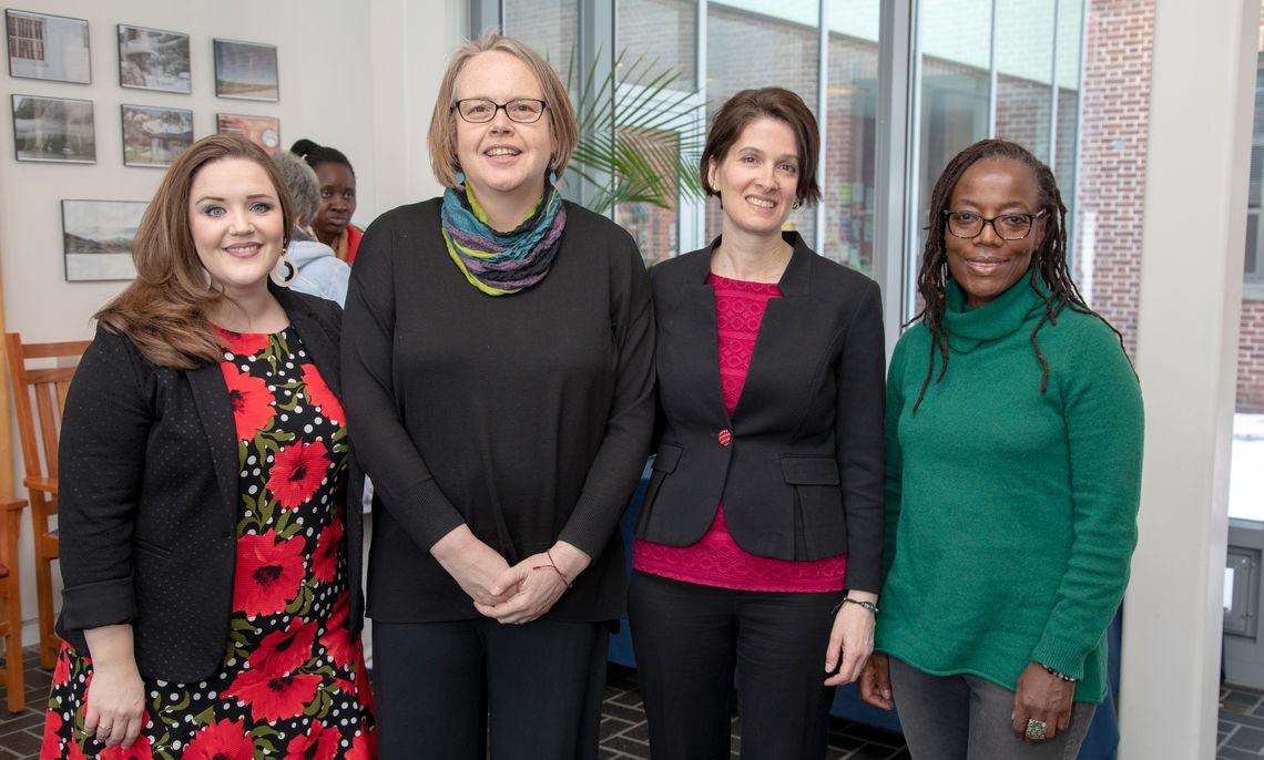 (l-r) Chelsea Reimann, Alison Kibler, Giovanna Lerner (WGSS chair), Tsitsi Dangarembga