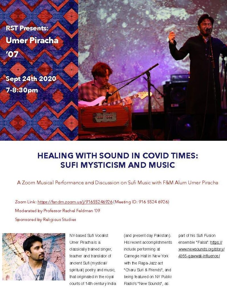 Flyer for Healing with Sound in Covid Times: Sufi Mysticism and Music