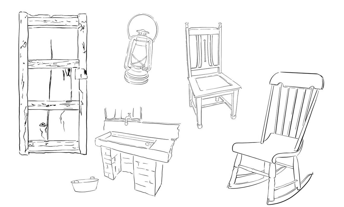 "Scenic design by Yuhang Wang for ""Trifles,"" a one-act play written by Susan Glaspell. Sketch."