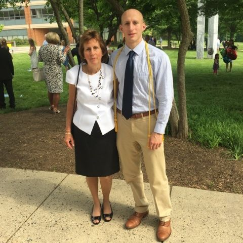 Andrew DeMaio '10 with his mother, Louise DeMaio, at his graduation from George Mason University School of Law in May 2015.