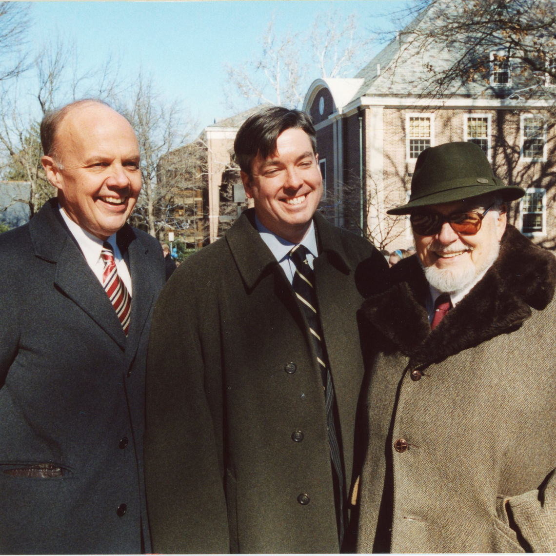 Among those welcoming John Fry to the F&M presidency in 2002 were F&M's 13th president, Richard Kneedler '65 (left), and 11th president, Keith Spalding (right). (Photo credit: J. Urdaneta).