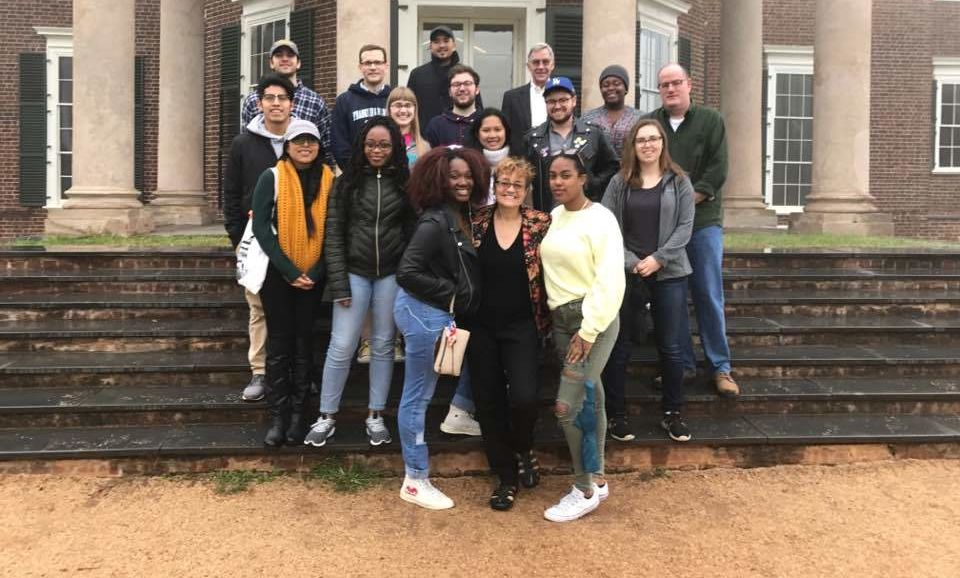 The F&M American Studies group on the back porch at Monticello.