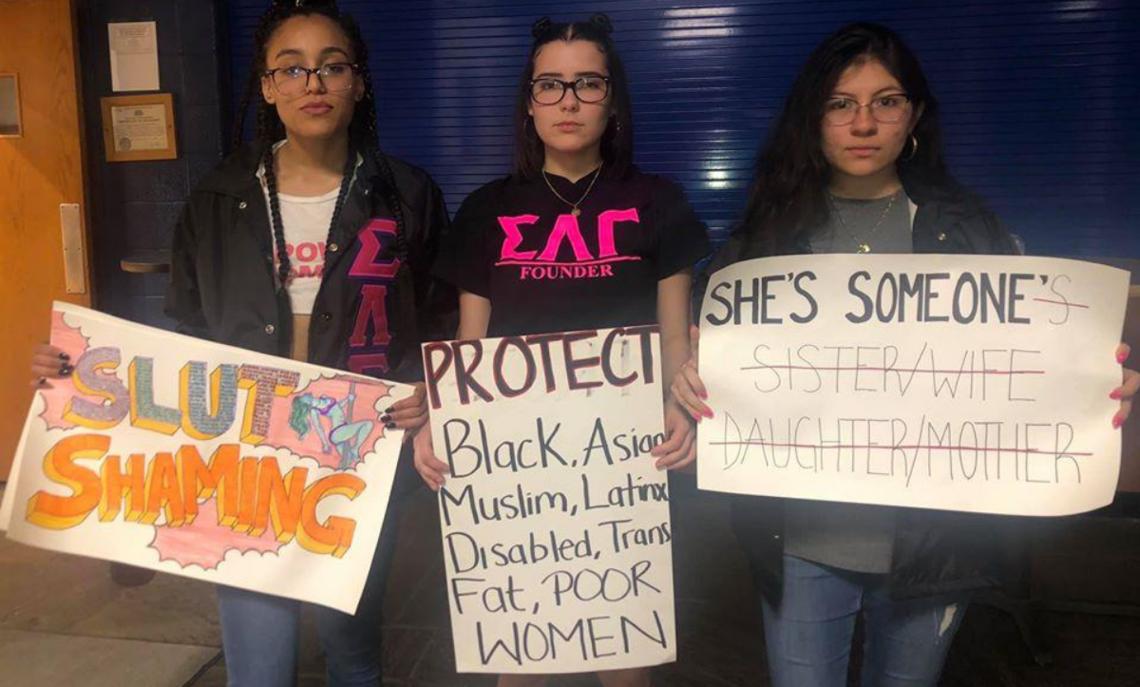 Gammas Silvanys Rodriguez '19, Lilian Rodriguez '21, and Andrea Corilloclla '21 at F&M's annual Take Back the Night (Fall 2019)