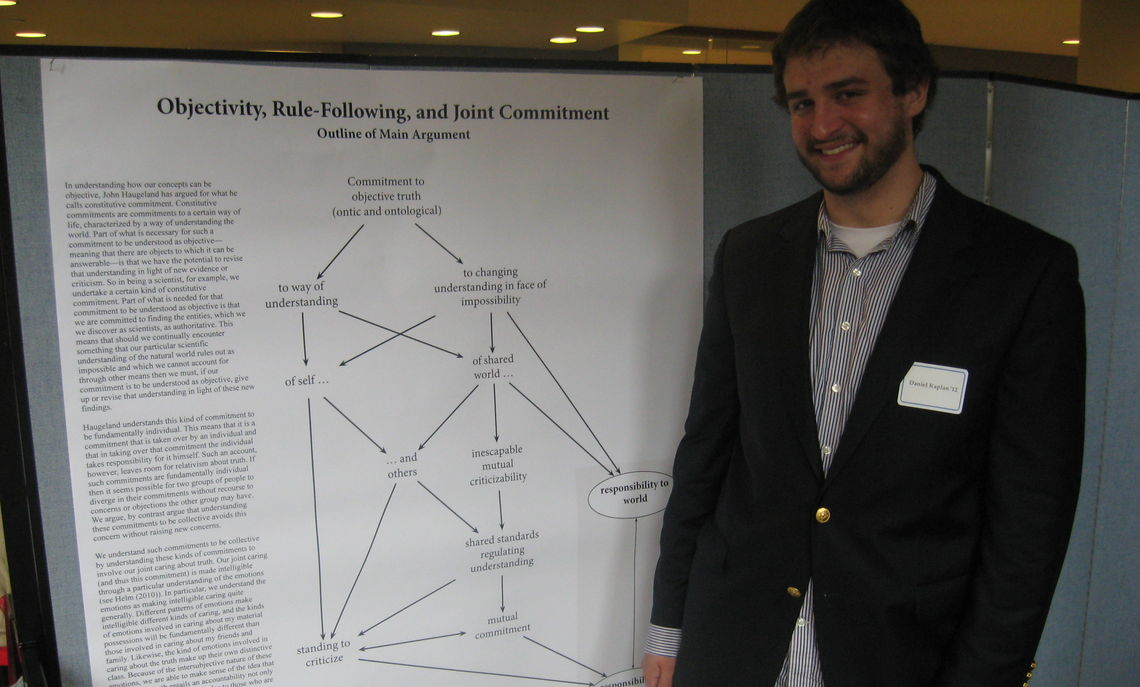 "Dan Kaplan '12 presenting his project ""Objectivity, Rule-Following, and Joint Commitment"" at this year's research fair."