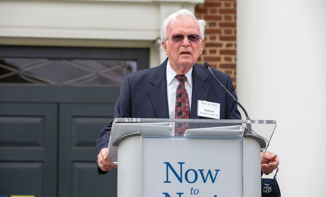 In his remarks, Robert Roschel expresses his gratitude to F&M for an education that paved his way to become a physician.