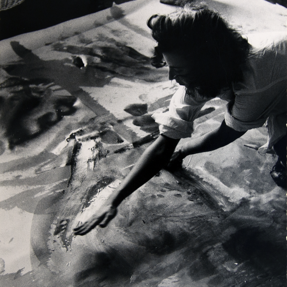 Painter Helen Frankenthaler works on an abstract expressionist painting in her studio, New York City, 1957. Burt Glinn (American, 1925–2008)