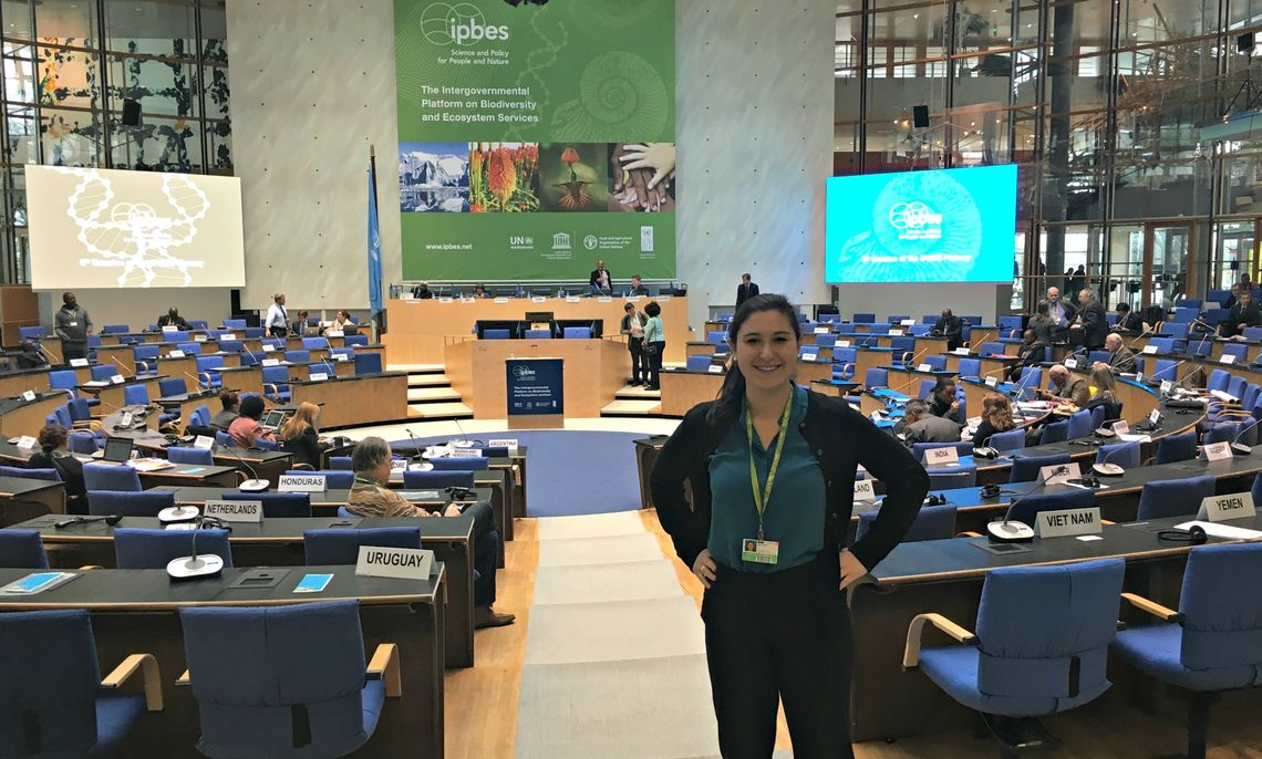 Research student Lea Senft '17 at IPBES-5 Plenary, Bonn, Germany 2017.