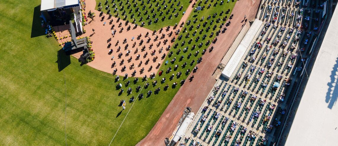 Aerial footage of the Class of 2021 Commencement ceremony held May 15 at Lancaster Clipper Stadium.