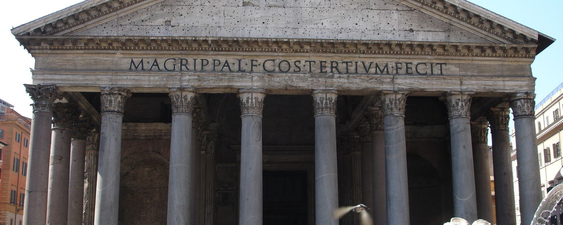 Facade of the Pantheon in Rome, Italy