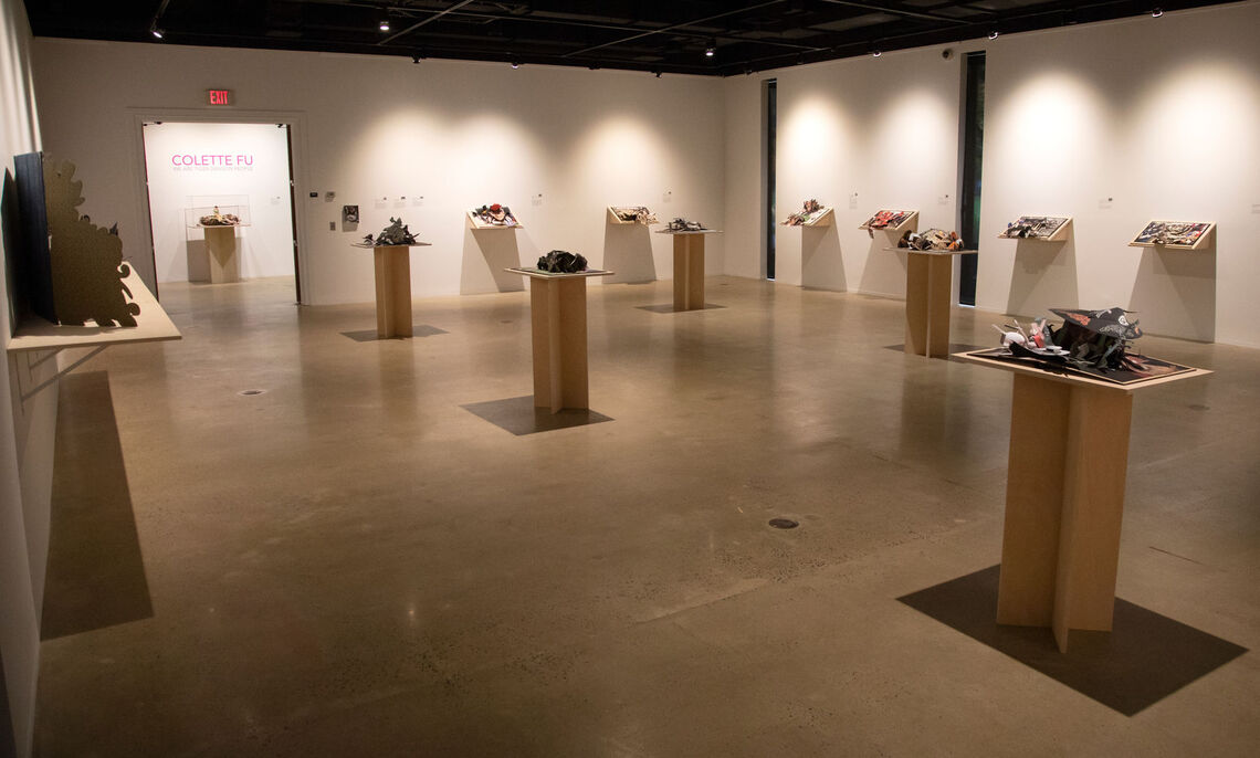 """Photograph of the Dana Gallery during the exhibition """"Colette Fu: We Are Tiger Dragon People"""", Photograph taken by Deb Grove, Art courtesy of the Artist"""