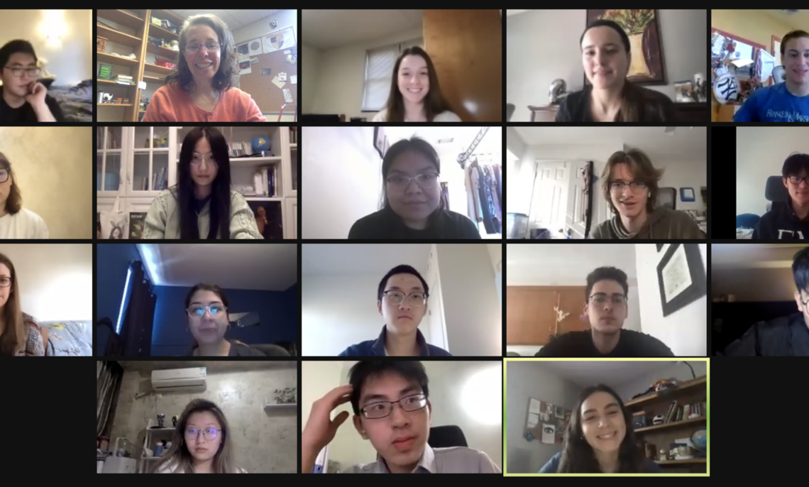 The Spring 2021 Diplomath Research Corps provided opportunities for 19 students from all class years, grouped into five teams with four faculty, to dig deeper into math study.  From top left:  Yusong Deng, Prof. Annalisa Crannell, Valerie Fieberg, Taylor Staub, Noah Fox; 2nd row - Hillary Yuekun Shao, Scarlett Siying Song, Anay Gonzalez,  Charles Reisner, Tom Zecheng Huang; 3rd row - Rebecca McClain, Lissangel Martinez, Jihang Dai, Ronald Garcia, Jeff (Donghan) Jin; 4th row - Wendy HaowenYang, Peter Liu, Alison Francis.  Not pictured:  Fiona Yufenfang Liao, Tianyi Fu, Sylvia Siyang Sun.