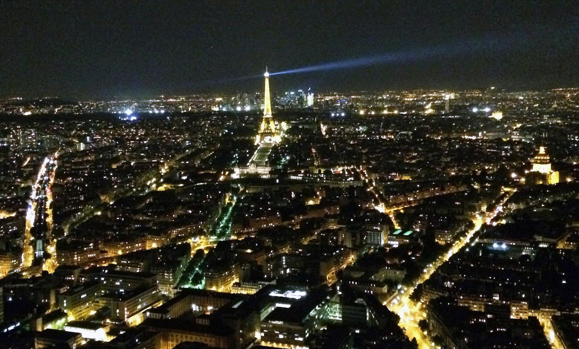 """The students visit the Montparnasse area of Paris and are greeted by this view of the """"City of Light"""" from atop a skyscraper."""