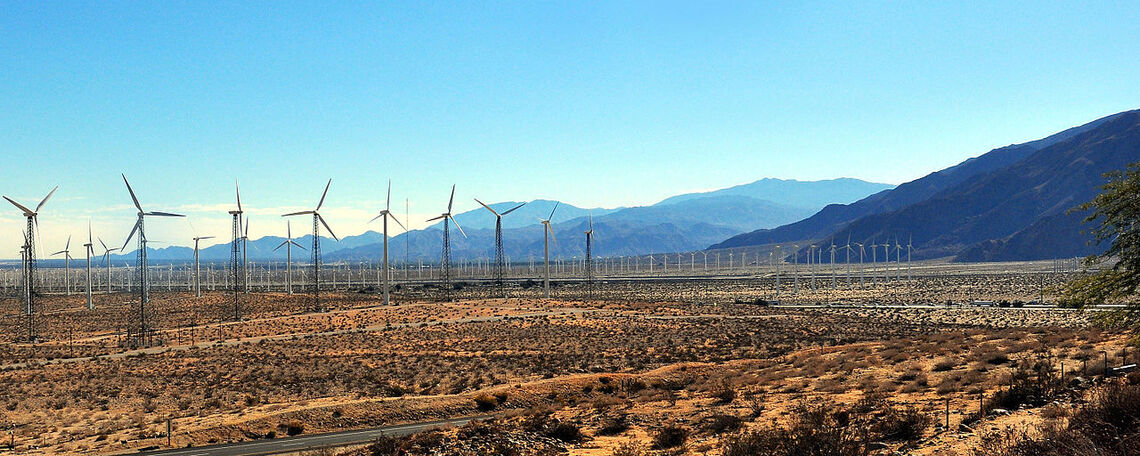 Wind farms in the desert outside Palm Springs.