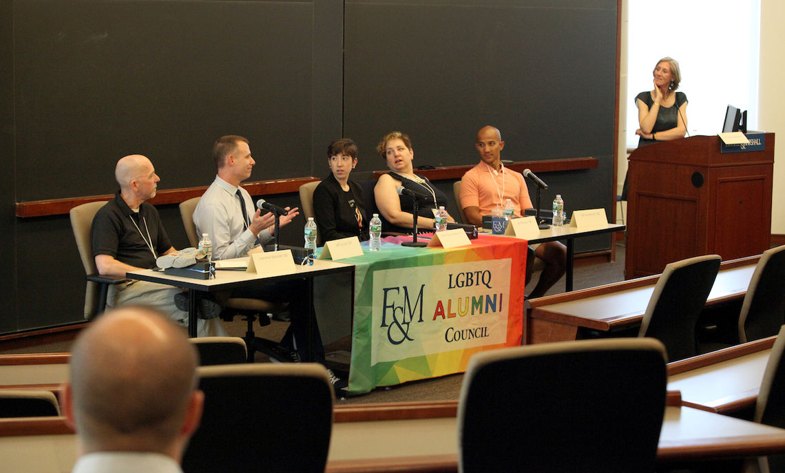 Alumni discuss Identities and experiences with the F&M LGBTQ Council's panelists: Lawrence Biemiller '80, Jeff Aurich '87, Cheryl Fazio-Hardwick '11, Joy Restucci '88, and Sai Somboon '04. Professor of History Maria Mitchell, chair of Women's, Gender & Sexuality Studies, serves as moderator.