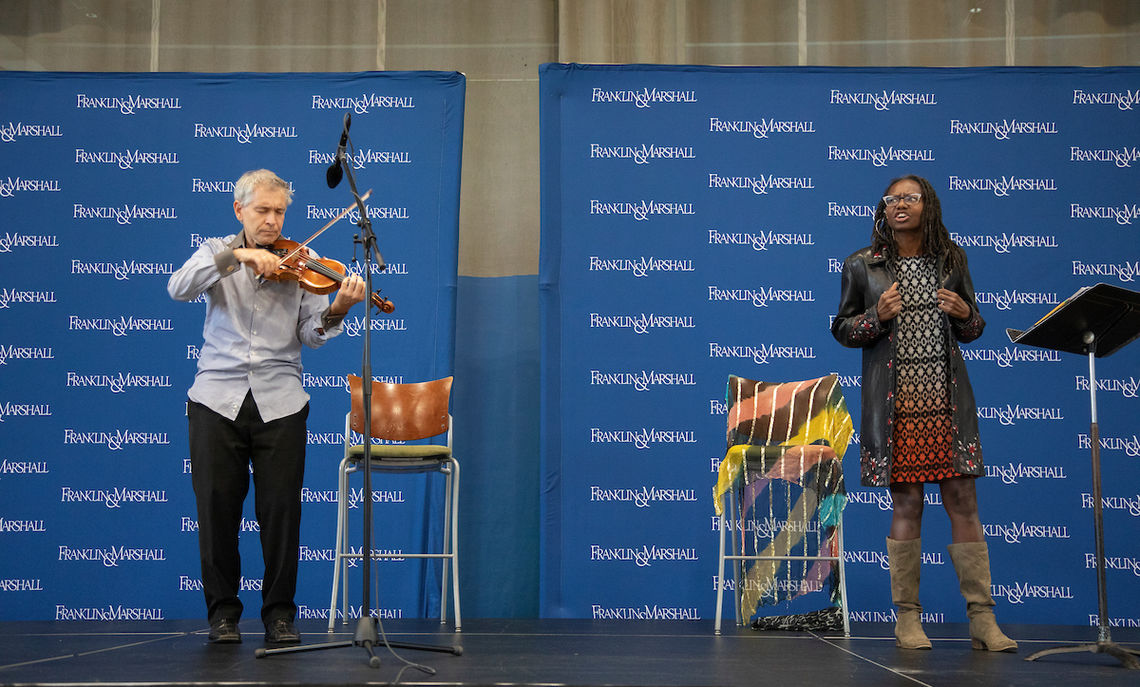… and performance by the Common Hour speaker, Visiting Scholar of Africana Studies Amanda Kemp and her husband, Senior Adjunct Assistant Professor of Music Michael Jamanis.