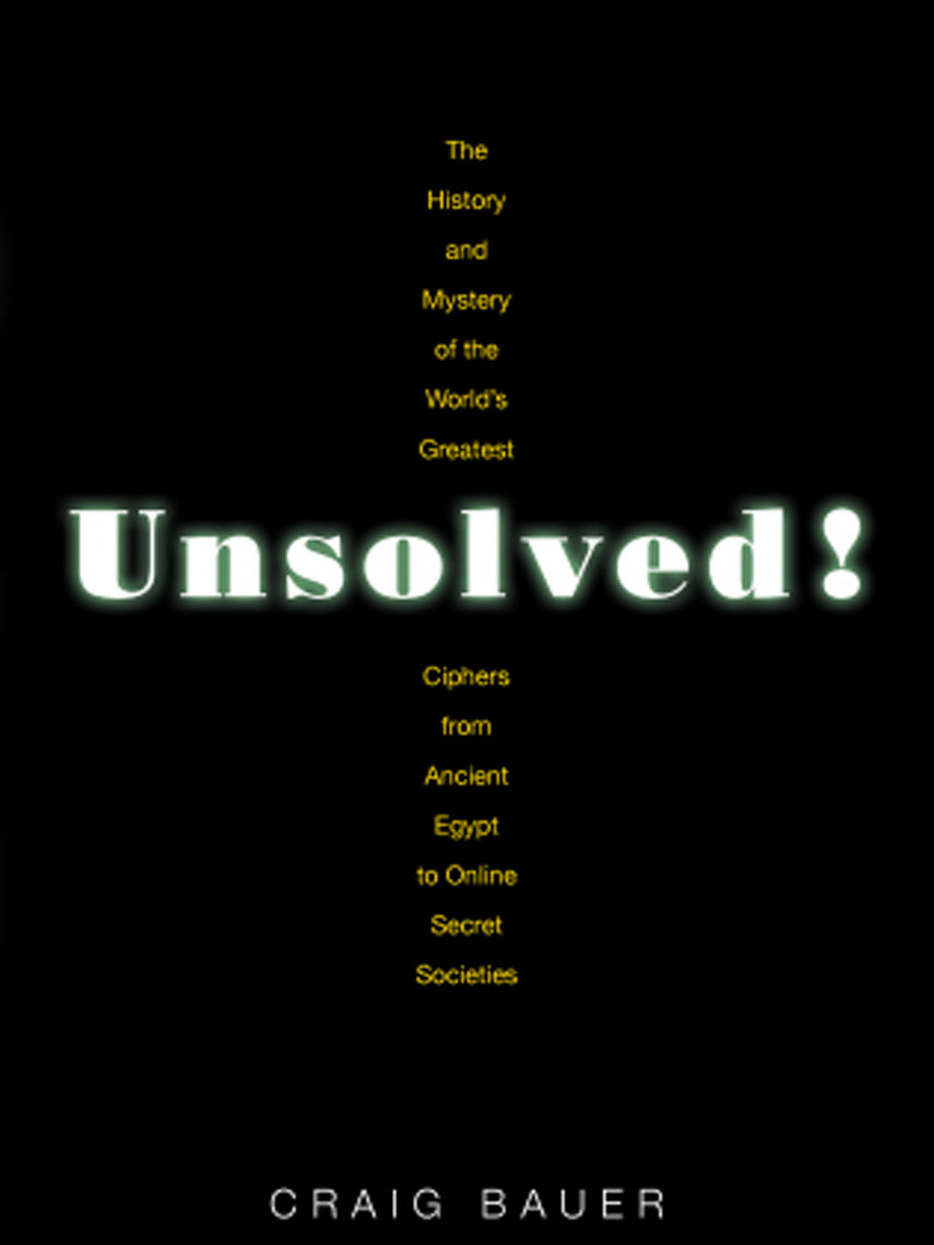 Unsolved! The History and Mystery of the World's Greatest Ciphers from Ancient Egypt to Online Secret Societies; Craig P. Bauer '94