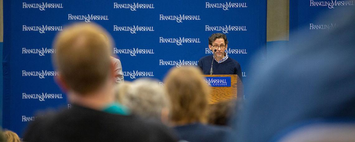 Professor of English Nicholas Montemarano speaks at the Nov. 7 Common Hour.