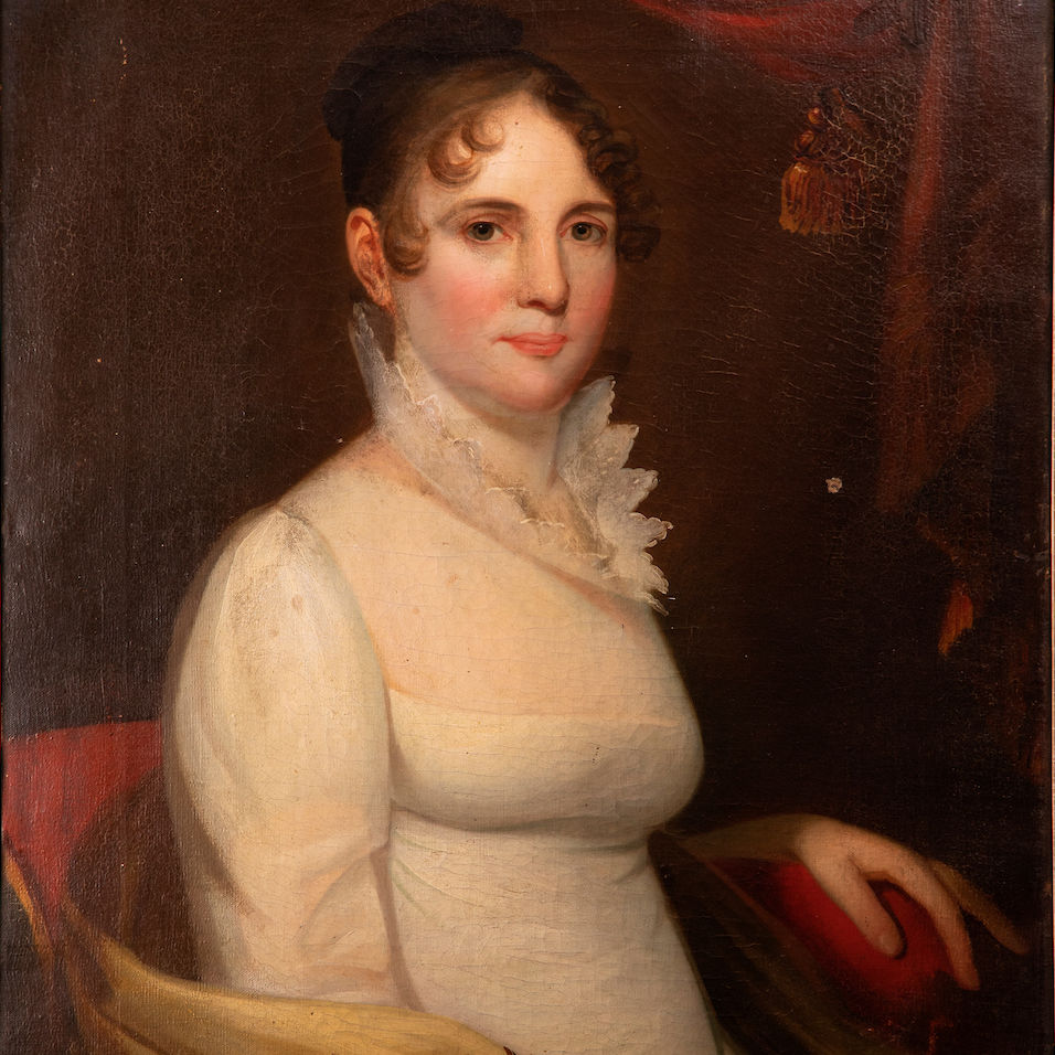 Portrait of a Woman, one of two portraits by Lancaster-born painter Jacob Eichholtz that Jennifer and Mark Kuhn '85 donated.