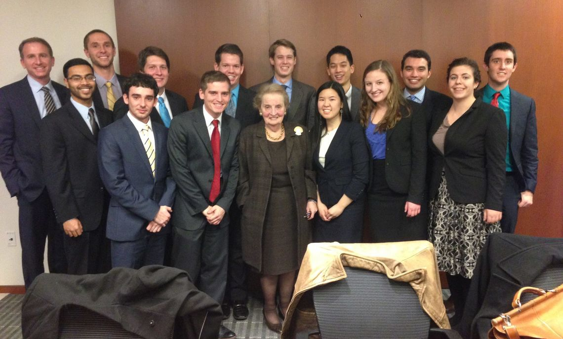 Truman-Albright Fellows, including Akbar Hossain, met with the President of the Foundation, Secretary Madeleine Albright