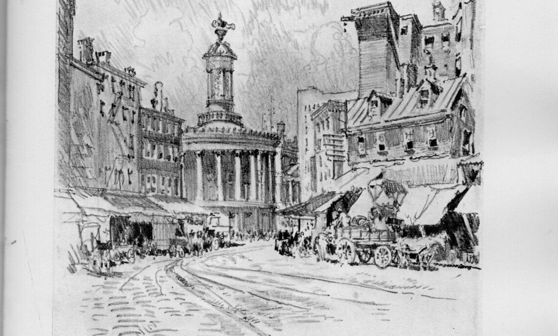 Illustration of Dock Street and Phiadelphia's Exchange as it appeared in the late 19th century.
