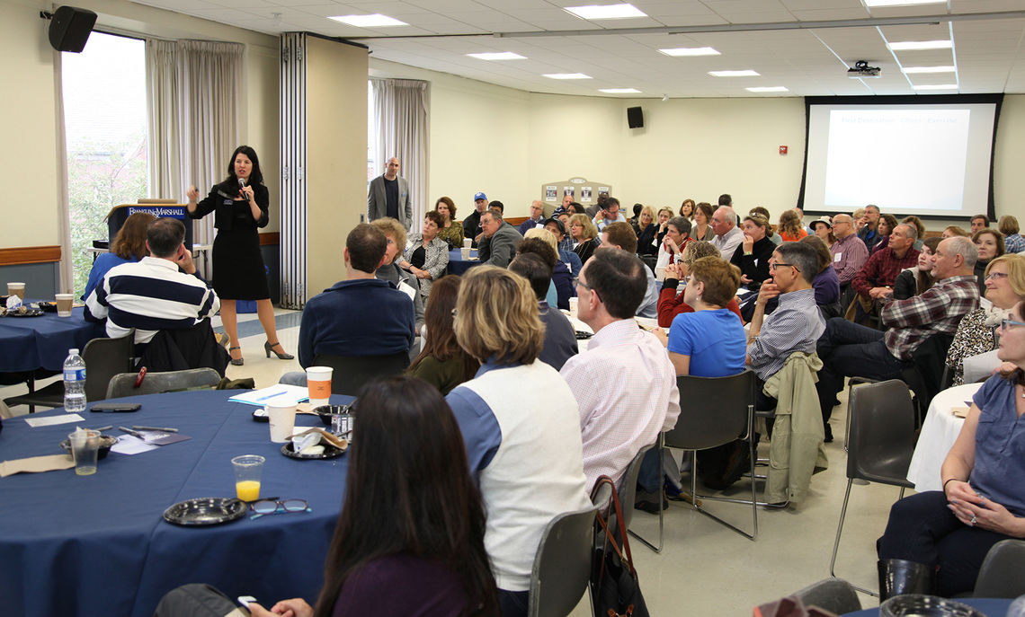 Beth Throne '95, associate vice president of the Office of Student & Post-Graduate Development, speaks to parents during the office's Breakfast Briefing Saturday morning.