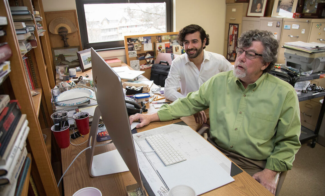 F&M senior Sevket Alperen Akkoyunlu, who won last year's Jacob J. Miller Prize in Economics, examines how finance and art intersect. Here, he works with his adviser, F&M Economics Professor Sean Flaherty..