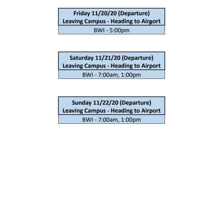 Nov 2020 Break Shuttle Schedules