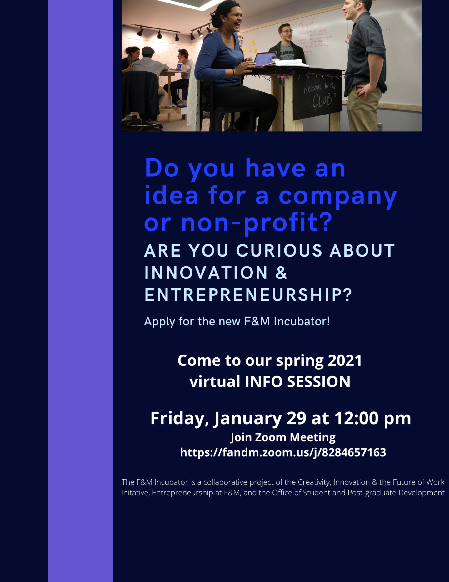 incubator info session flyer