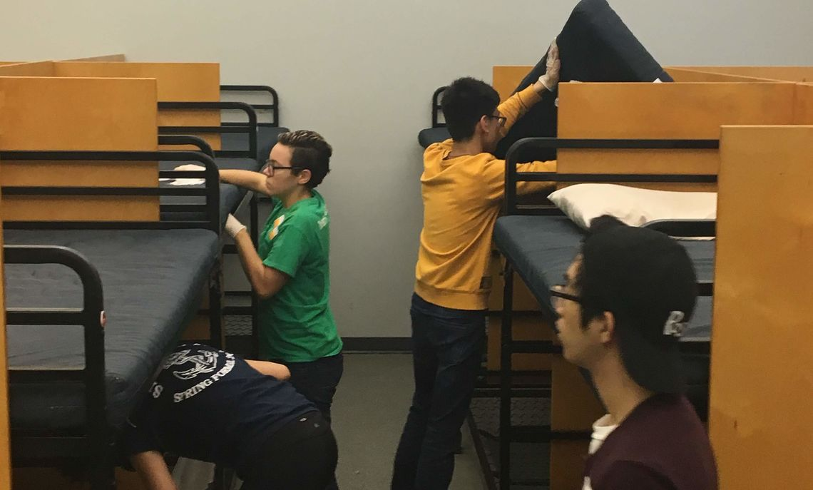 AFB students clean bunks at shelter