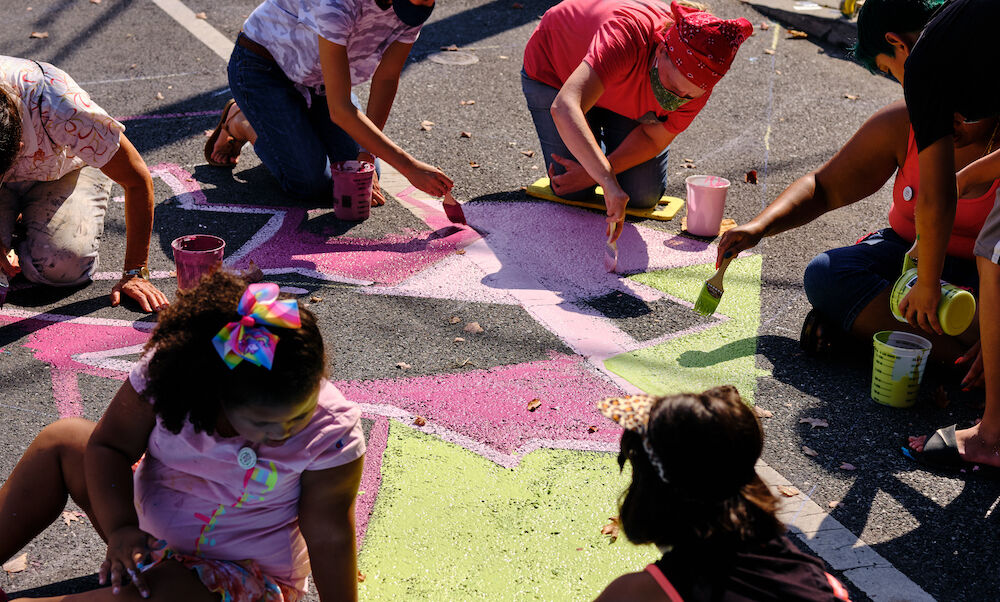 An art installation on Strawberry St. in Lancaster, Pa.. Sarah Sutter '22 assisted with this project through Artful Intersections, an initiative that engages local artists in creating street murals and art installations throughout the city.