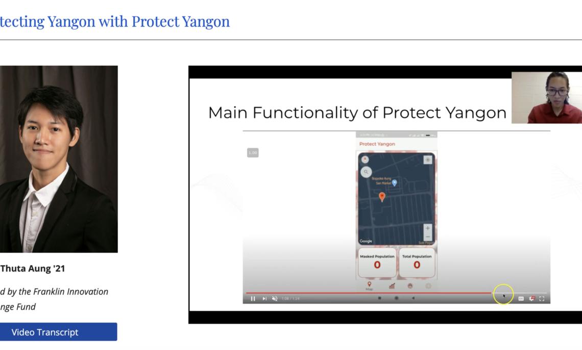 "Phyo Thuta Aung '21 showcases his mobile application, ""Protect Yangon"""
