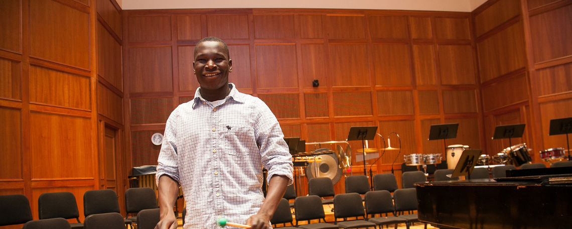 "Dominic Akena plays the xylophone in Barshinger Center for Musical Arts. He is an F&M student and is from Uganda. He stars in a documentary film titled ""War Dance"" about his experience as a child soldier in Uganda."