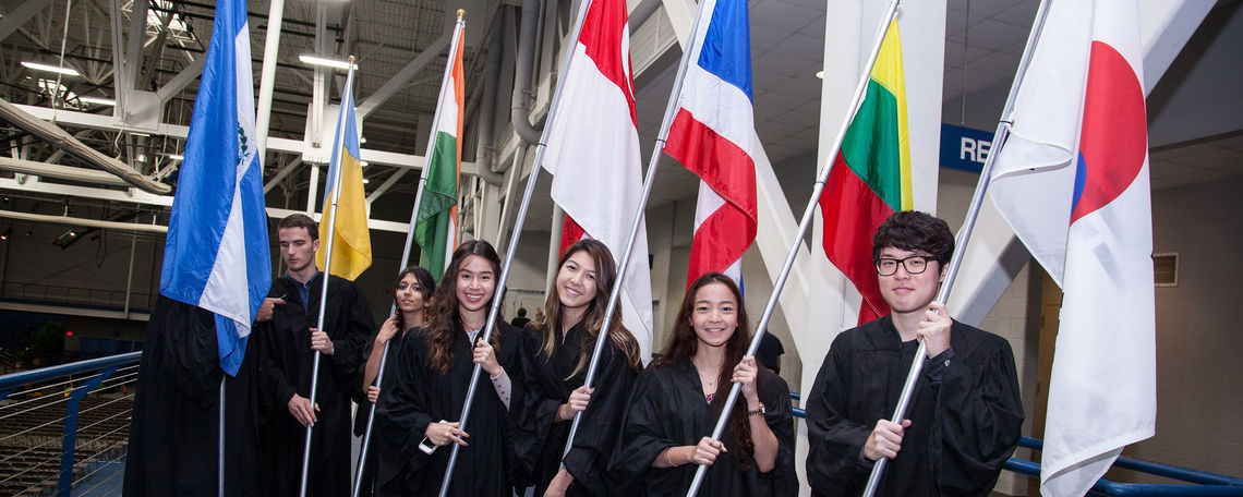 international students at convocation for class of 2018.
