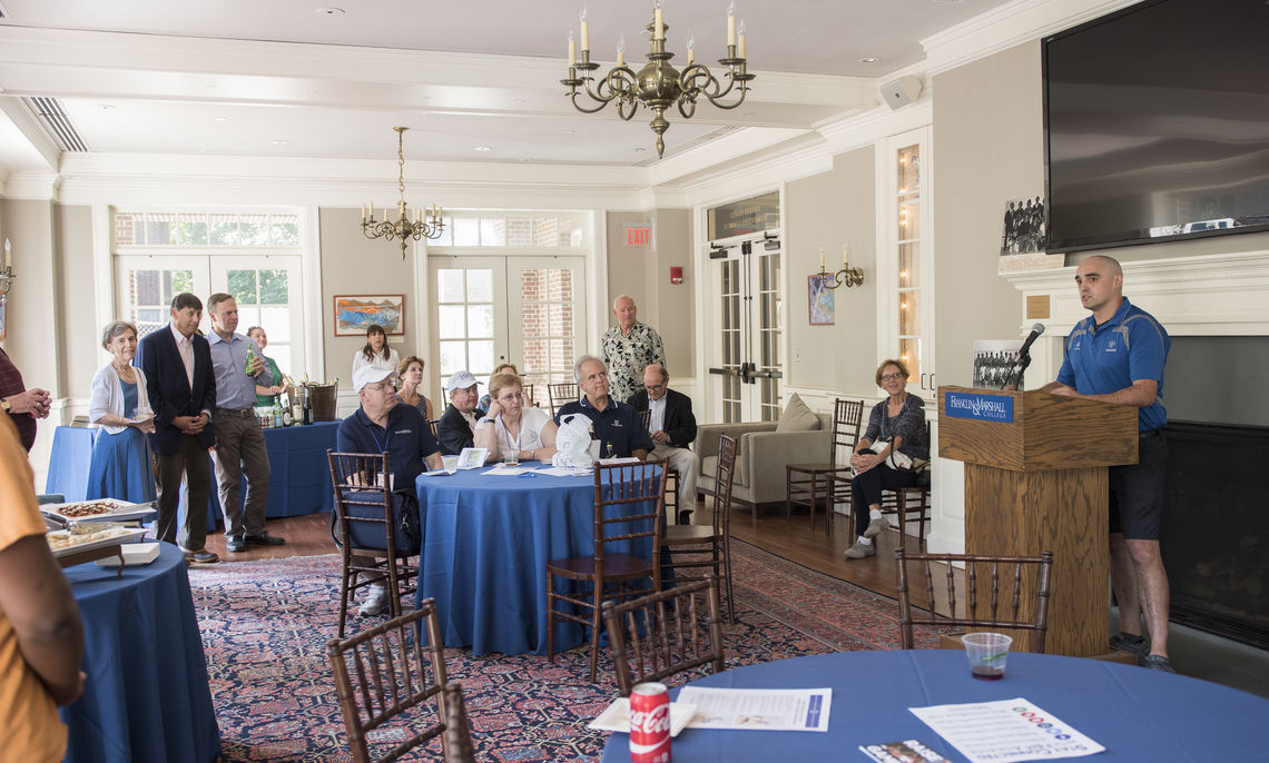 Alumni, coaches and friends of squash gather during Alumni Weekend 2017 to celebrate 50 years of squash at F&M.