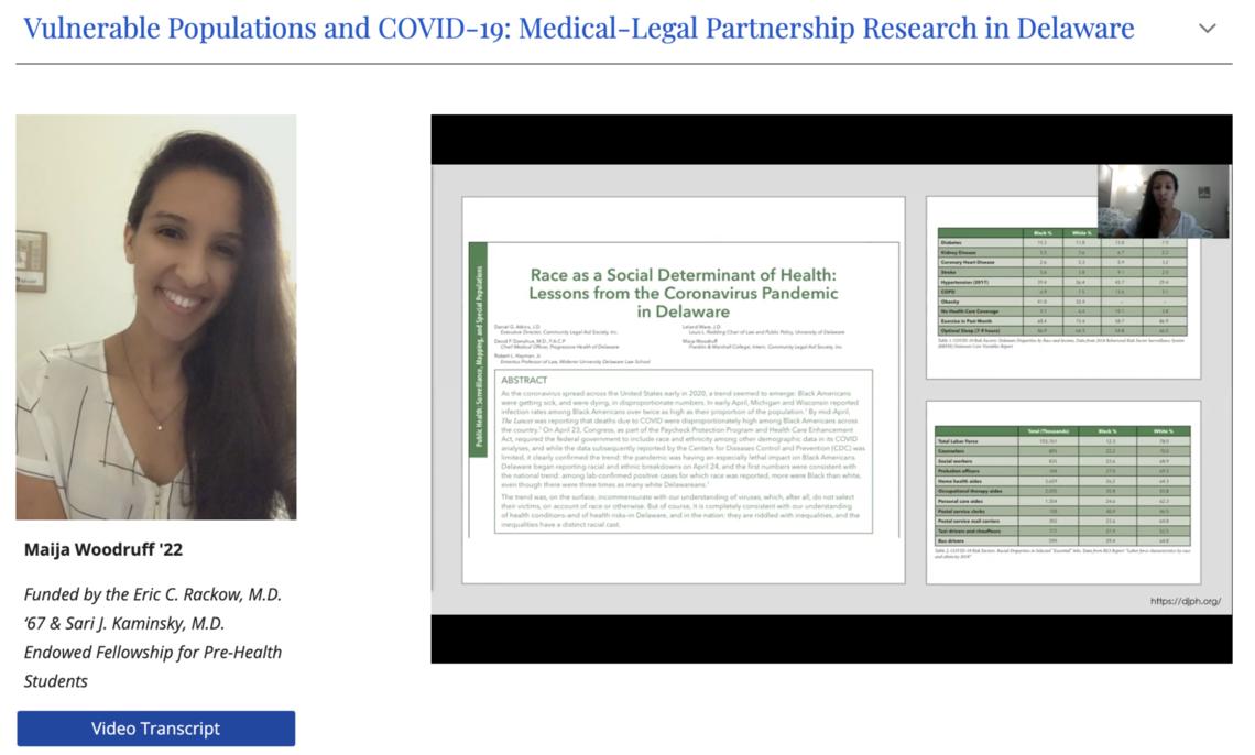 Maija Woodruff '22 presents her summer COVID-19 research