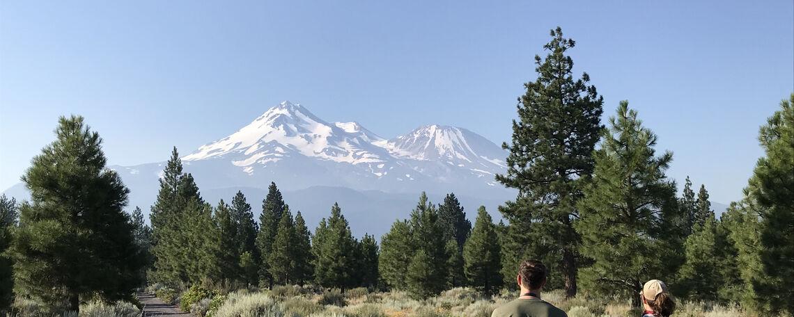 490 students gazing at Mount Shasta, Northern California