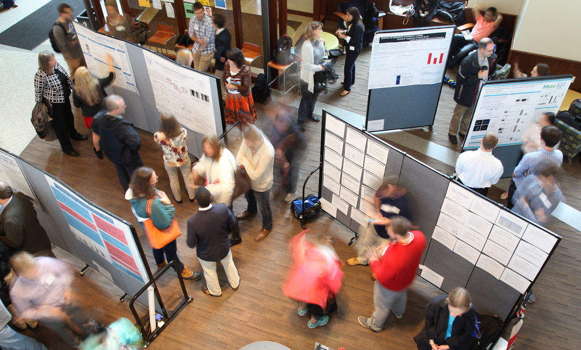 The Frey Atrium of the Ann & Richard Barshinger Life Sciences & Philosophy Building is converted into a showcase for Friday's Autumn Research Fair, featuring the research of 80 F&M students.